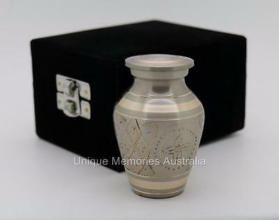 "3"" Solid Classic Platinum Gold Style Cremation Memorial Keepsake Ashes Urn +Case"
