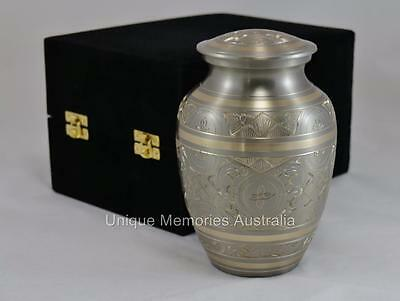"Solid Brass 7"" Classic Platinum Gold Cremation Memorial Funeral Urn up to 38 kg"