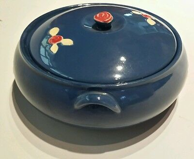 Coors Pottery Rosebud Blue Covered Dish  Bowl Bean Pot w/ Lid