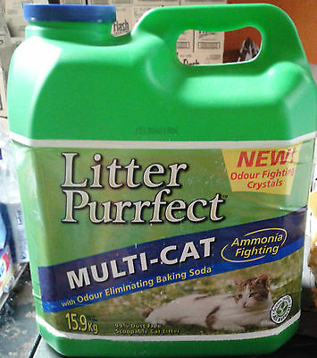 Litter Purrfect Hard Clumping Cat Litter  Bulk Lemongrass Scented 1 x15.9kg