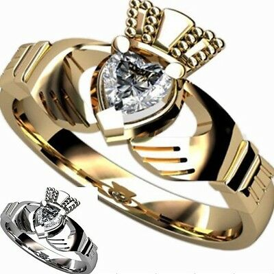 Size 5-10 Stainless Steel Heart Claddagh Ring Gold Celtic Knot Irish Crystal