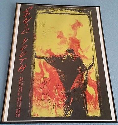 RARE Sonic Youth SIGNED Poster, Exclusive Art Design Custom Frame Thurston Moore