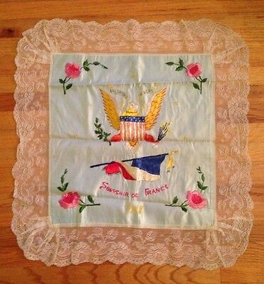 WWI sweetheart souvenir de France Victory lace eagle roses needlework pillow
