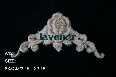 8x8cm Wood Carved Corner Onlay Applique Furniture Flower Unpainted A12 QTY.2
