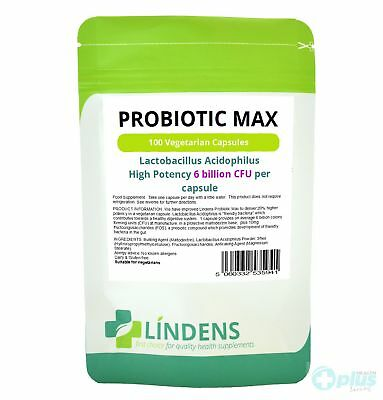 Lindens Probiotic Max Capsules x 100 With Prebiotic +Bloating +Cramps +Wind