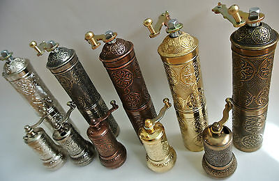 Turkish Coffee Grinder & Pepper Mill Brass Silver Copper colour Set of 2