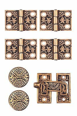 Victorian Eastlake interior plantation shutter hardware set, solid bronze