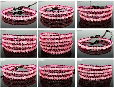 Handmade Natural Rose Quartz Gemstone Beads Wrap Leather Bracelet Healing Reiki