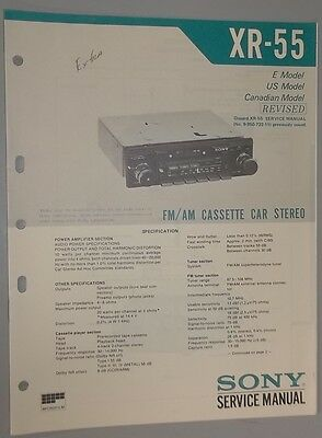 Sony AM-FM Stereo Cassette Player XR-55 OEM Service Manual