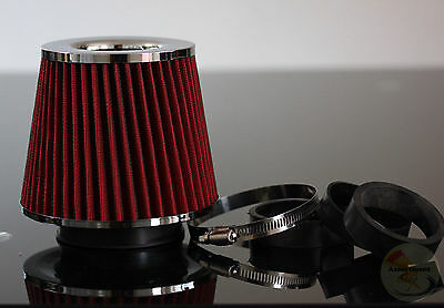 Sport Car Tuning Red INDUCTION ROAR Kit Cone AIR FILTER Chrome Universal Fit