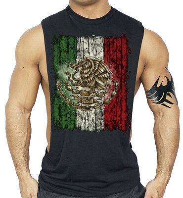 Men's Mexico Flag Black Workout Tank Top Beast Muscle Mexican Gym Bodybuilder