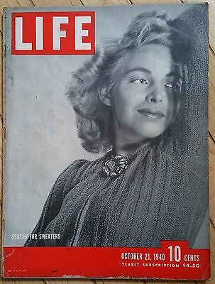 Life Magazine October 21 1940 Season For Sweaters