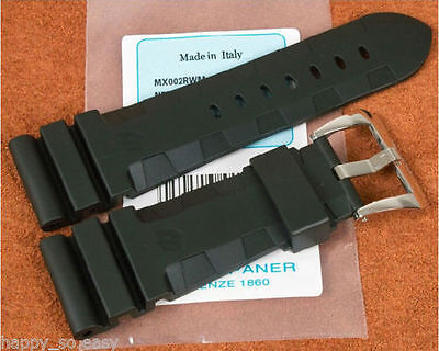 24mm 26mm black Rubber Diver Watch Strap Band Compatible with PANERAI
