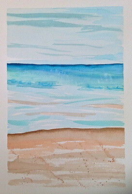 HAND painted WATERCOLOUR artist PICTURE card WINTER LAKESIDE blue BROWN ART sky