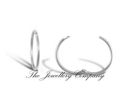 9ct White Gold Hinged Hoop Sleeper Earrings 1 Pair 12 14 16mm Jewellery Company