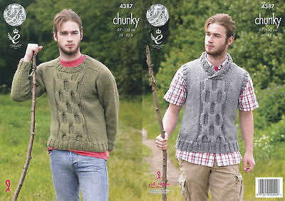 Mens Big Value Chunky Knitting Pattern King Cole Cable Knit Jumper Slipover 4387