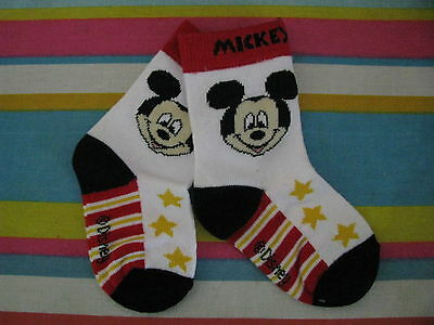 boys socks mickey mouse white black red yellow size 3 to 6 months