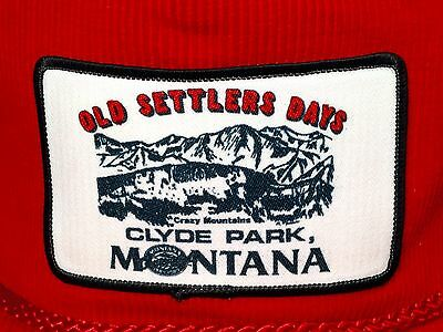Clyde Park Montana Old Settlers Days Trucker Hat Cap Red Corduroy Crazy Mountain