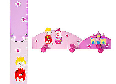 Childrens Kids Princess Height Growth Chart Coat Hooks Girls Nursery Bedroom
