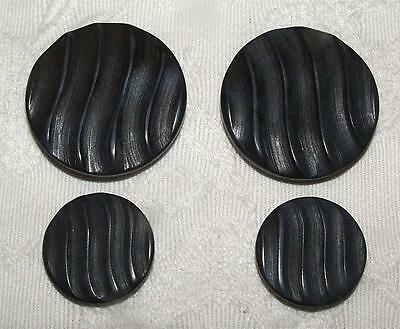 SET OF 4 NEW VINTAGE 1970's VERY DARK NAVY BLUE PLASTIC DESIGNER SEWING BUTTONS