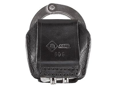 """New! Aker 606 Open Top Hinged Handcuff Case for Belts up to 2 1/4"""" Black 606-BP"""