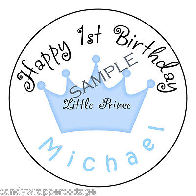 "Little Prince Princess Birthday Personalized 2.5"" Round Labels Favors Loot Bags"