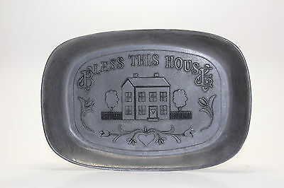"Pewter Bread Serving Plate Platter Tray by WILTON ARMETALE ""BLESS THIS HOUSE"""