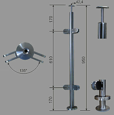 Stainless Steel Handrail Posts RR 42,4 with Corner 135° Glass Holder V2A
