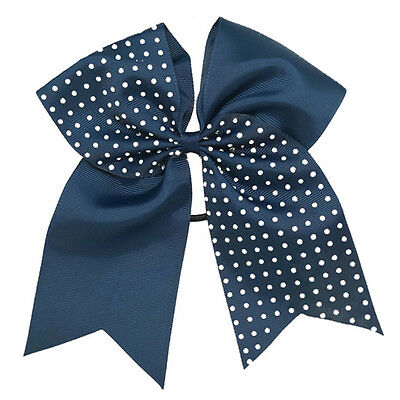 7 Inch Cheerleading Rhinestone Bling Cheer Bows With Elastic Band For Girls