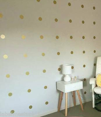Gold or Silver Polka Dots Spots Circles Removable Wall Sticker - Up to 100 set