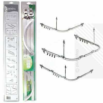 EcoSpa® PROFESSIONAL Shower Curtain Hanging Track Rail | 3 Configurations | NEW