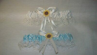 Wedding Ceremony ~Sunflower~Party Shower Bridal  (2) Garters Set White & Blue