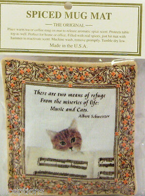 Alice's Cottage Cotton Scented Spiced Mug Mat Coaster Musical Cat - NEW