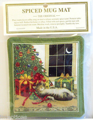 Alice's Cottage Cotton Scented Spiced Mug Mat Coaster Holiday Cristmas Cat - NEW