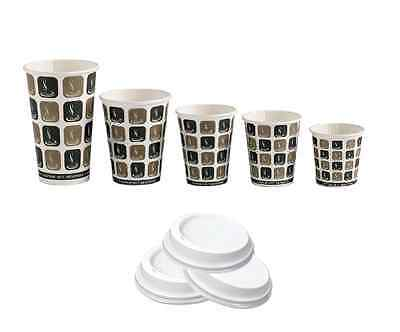 Disposable Takeaway Café Mocha Paper Cups & Lids (4oz/8oz/10oz/12oz/16oz)