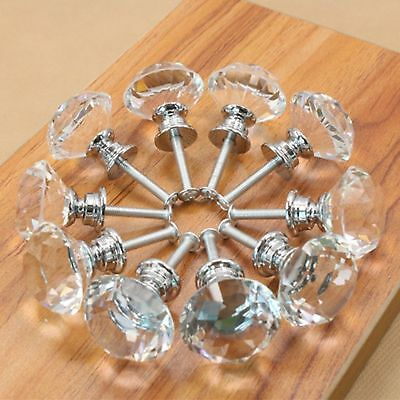 10 PCS 30mm Diamond Crystal Glass Cabinet Knob Cupboard Drawer Pull+ Screw EW