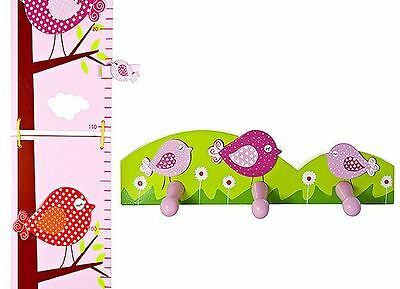Girls Kids Pink Bird Height Chart Coat Wall Hooks Nursery Bedroom Decoration