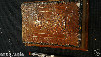 Letter papers, leather, very old case +  artistic embossment, rare!!