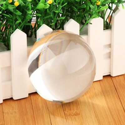 Vintage 90mm Clear Crystal Half Sphere Ball Paperweight MAGNIFYING Glass Gift