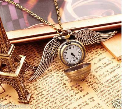 lot of 10PCS Harry potter Vintage bronze pocket Watch with Wings Necklace Chain