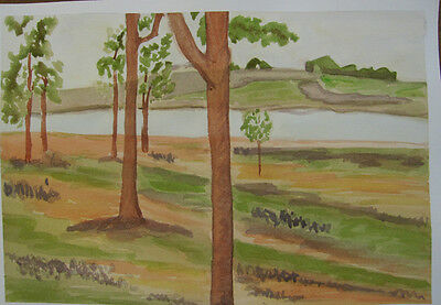 HAND painted WATERCOLOUR artist PICTURE card TRANQUILITY lake DAM trees ART hill
