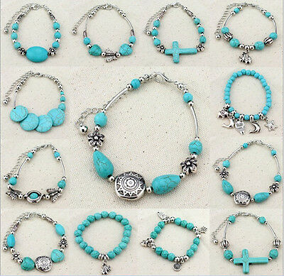 Antique Silver with TA Turquoise Beads Anklet IU Ankle Bracelet Beach Foot