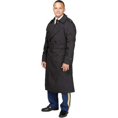 US Army Dress Uniform Black Trench Overcoat All Weather ASU Coat Jacket NEW