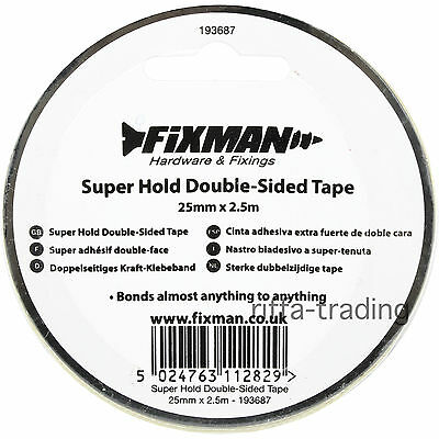Double Sided Tape, Super Hold, Extra Strong, Adhesive, Sticky, Craft, Clear,25mm