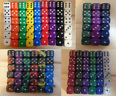 6 x 12mm D6 Dice 4 types Opaque, Oblivion, Interferez Pearl. Pick from 23 colors