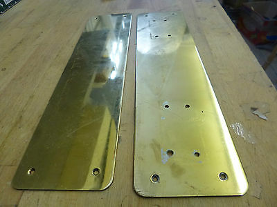 Pair of Reclaimed Brass Finger Plates - one with fixing holes for door pull