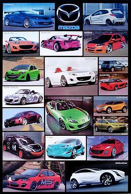 "MAZDA (1997-Now) POSTER 23""x34"" Japanese Sport Cars 19 Models Free Ship WW"
