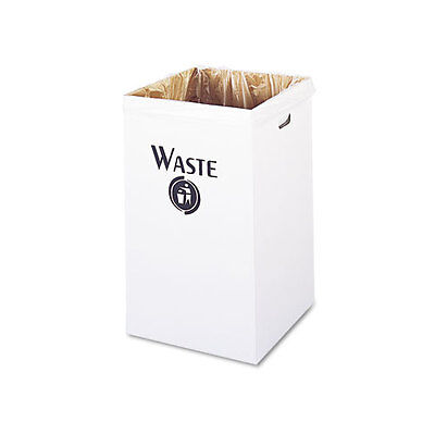 Safco Corrugated Waste Receptacle, Square, 40 gal, White, 12/Carton