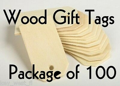 "LARGE WOOD GIFT TAG ~3"" ~ Cutout Craft Shape ~ Unfinished { Lot of 100} ~ by PLD"