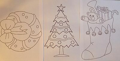 Christmas Tree & Stocking iron on embroidery transfer patterns 3 x A4 sheets